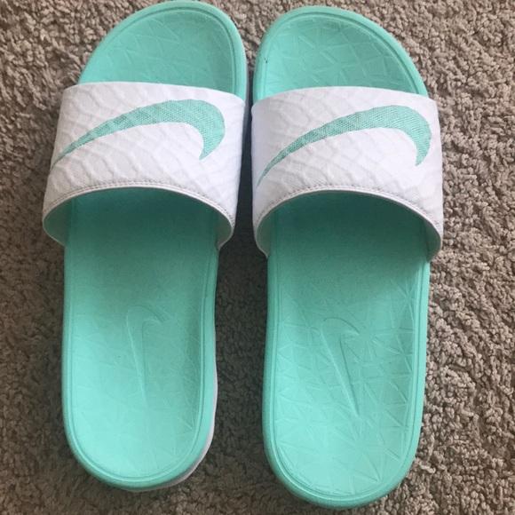 Nike Shoes | Mint Green Nike Slides
